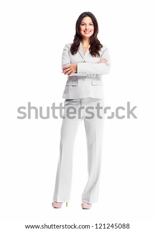 Beautiful young business woman isolated on white background. - stock photo