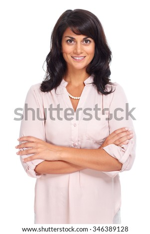Beautiful young business woman isolated white background. - stock photo