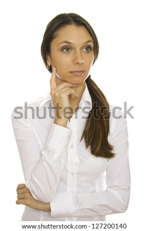 Beautiful young business woman leans on the arm. Isolated - stock photo