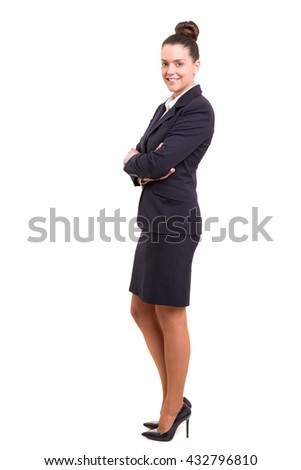 Beautiful young business woman posing isolated