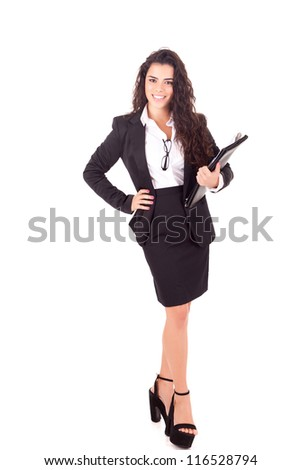 Beautiful young business woman posing isolated over white