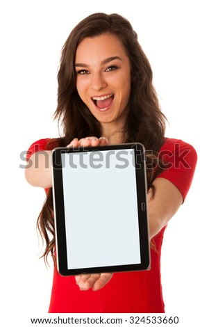 Beautiful young business woman showing tablet with screen for commercial isolated over white - stock photo
