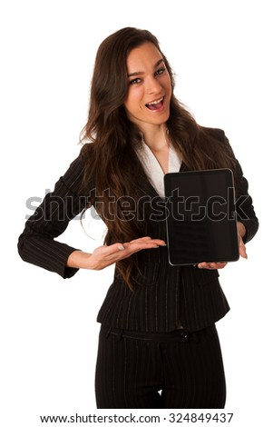 Beautiful young business woman showing tablet with screen for commercial isolated over white