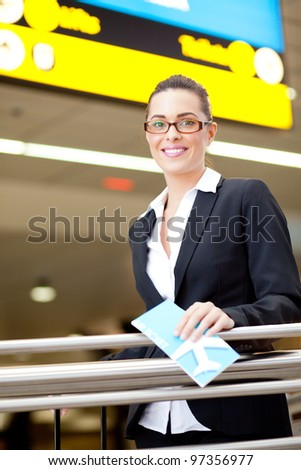 beautiful young businesswoman at airport
