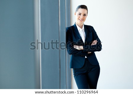 beautiful young businesswoman half length portrait - stock photo