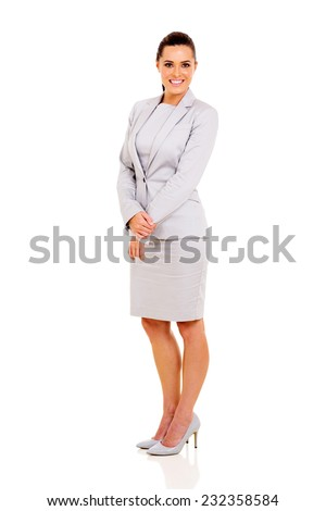 beautiful young businesswoman isolated on white - stock photo