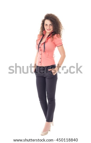 Beautiful young businesswoman isolated on white background in full body - stock photo