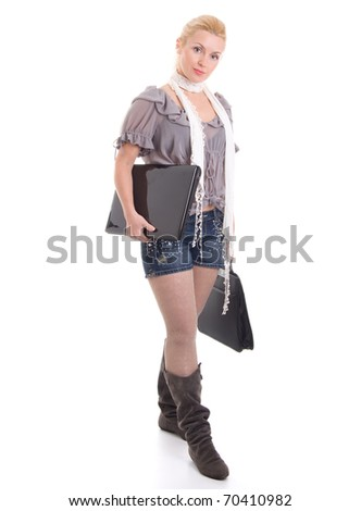 Beautiful young businesswoman with laptop, full portrait, isolated on white background - stock photo