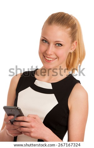 Beautiful young caucasian business woman with smart phone communicating