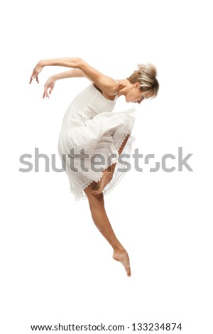 beautiful young caucasian dancing woman  isolated on white background - stock photo