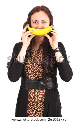 Beautiful young caucasian girl with banana smile isolated on white - stock photo
