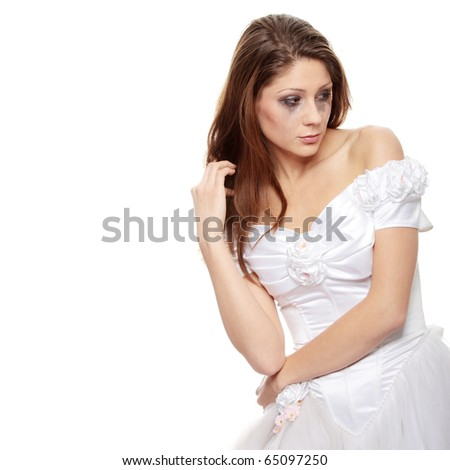 Beautiful young caucasian sad bride crying, over white background - stock photo