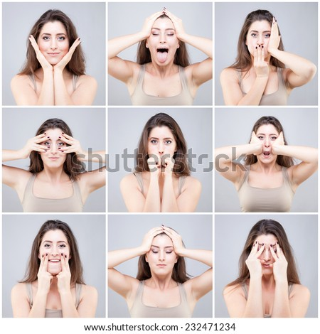 Beautiful young caucasian woman doing face yoga poses - stock photo