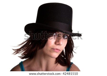Beautiful Young caucasian Woman head and shoulder with black hat