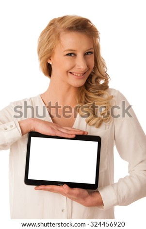 Beautiful young caucasian woman holding a tablet in her hand isolaetd over white background - stock photo