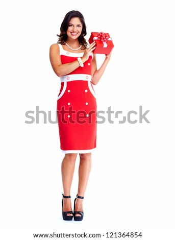 Beautiful young Christmas girl with a present isolated on white background.