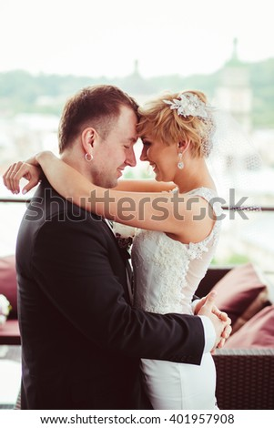 beautiful young couple feel incredibly - stock photo
