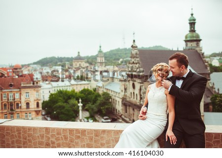 Beautiful young couple happy together - stock photo