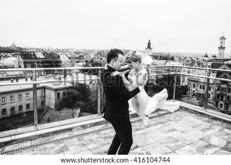 beautiful young couple have fun time - stock photo