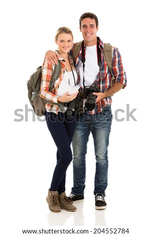 beautiful young couple hiking isolated on white - stock photo