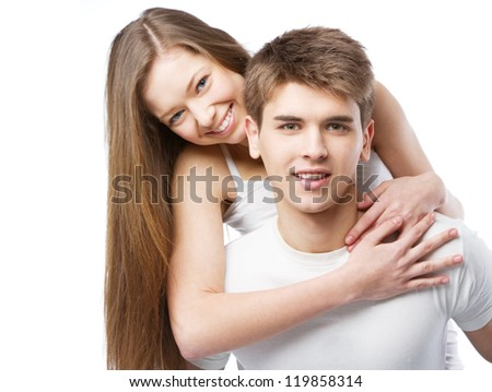 Beautiful young couple isolated on white background