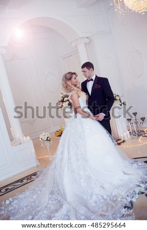 Beautiful young couple, the bride and groom. Luxurious light interior