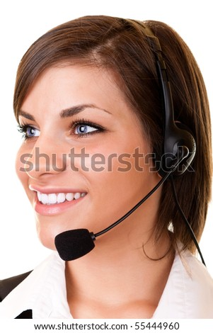 beautiful young customer service girl with headset