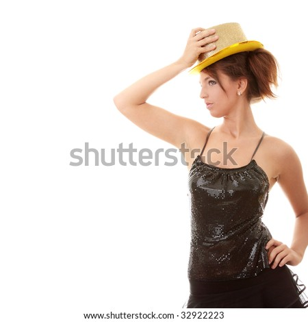 Beautiful young disco woman with shiny gold hat - stock photo