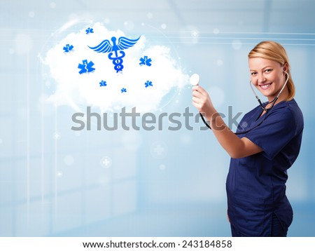 Beautiful young doctor with abstract cloud and medical icons - stock photo