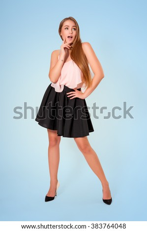 Beautiful young emotional woman. Fresh summer portrait - stock photo