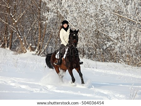 Beautiful young equestrian woman in winter woods
