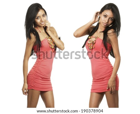 Beautiful young exotic women in pink dress isolated against white background. - stock photo