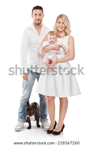 beautiful young family with little baby and dog isolated over white background - stock photo