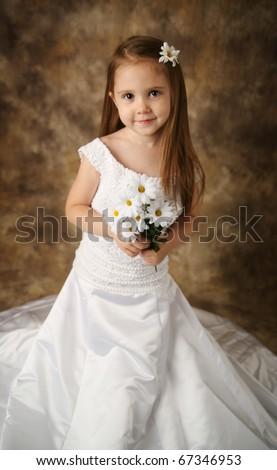 Portrait Adorable Preschool Girl Playing Dress Stock Photo