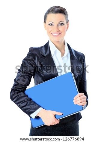 Beautiful young female entrepreneur holding laptop against white background. - stock photo