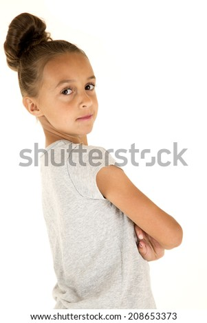 beautiful young female model portrait arms folded