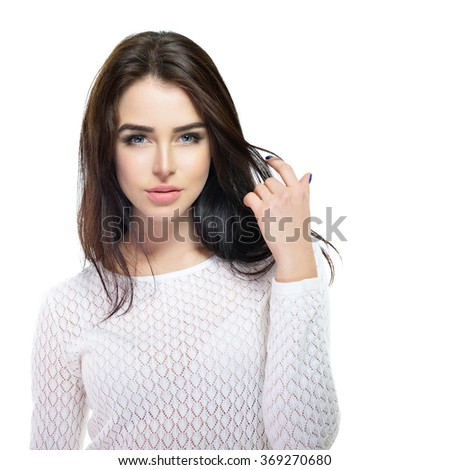 Beautiful young female touching her skin. Portrait isolated on white background. Beauty face. Beauty woman.  - stock photo