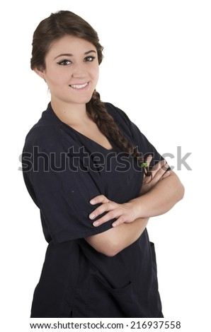 Beautiful young friendly happy hispanic woman wearing nurse uniform smiling isolated on white - stock photo