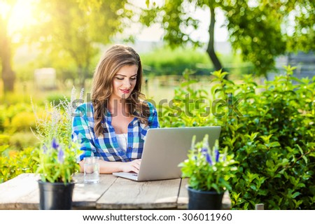 Beautiful Young Garden Manager Notebook Working Stock Photo ...