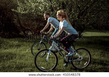 Beautiful Young Couple Love Walking Bicycles Stock Photo 410548471