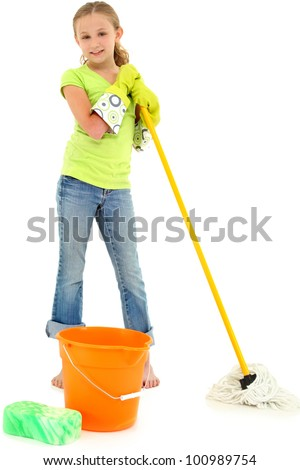 Beautiful Young Girl Doing Spring Cleaning Chores with Mop and Bucket barefoot over white background. - stock photo