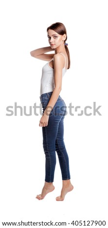 Beautiful young girl, full height, isolated on white. Slender woman. Diet, healthy lifestyle. - stock photo