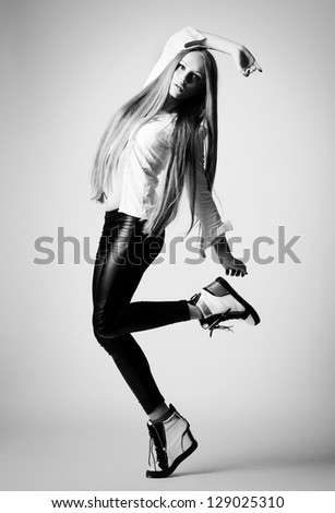 beautiful young girl in fashion style - stock photo