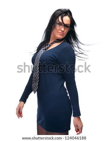 Beautiful young girl in glasses wearing a tie on a white background - stock photo