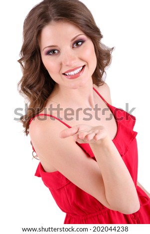 Beautiful young girl in red dress isolated on white