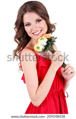 Beautiful young girl in red dress with flowers isolated on white - stock photo