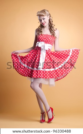 beautiful young girl in retro pinup style - stock photo