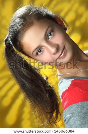 beautiful young girl in studio