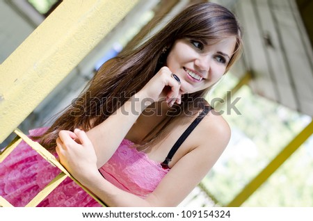 beautiful young girl in summer - stock photo