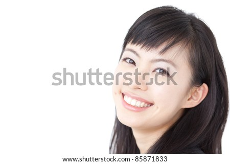 beautiful young girl laughing, isolated on white background
